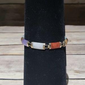 Vtg Heng Ngai 14k gold & Jade Signed Bracelet